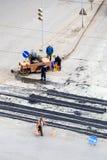 Wegenbouwplaats, stenen, grint en asfalt Stock Fotografie