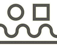 Wegenbouwreeks Toolkit van de wegkaart Aansluitbare wegelementen Vectorillustratie van het winden van weg vector illustratie
