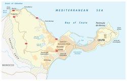Wegenkaart van de Spaanse enclave ceuta op het Afrikaanse continent stock illustratie