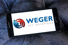 Weger air solutions company logo. Logo of weger air solutions company on samsung mobile. weger is leader in the market of air handling units Royalty Free Stock Photography