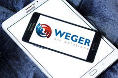 Weger air solutions company logo. Logo of weger air solutions company on samsung mobile. weger is leader in the market of air handling units Royalty Free Stock Images