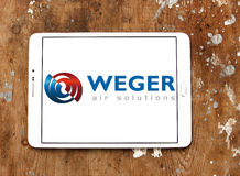 Weger air solutions company logo. Logo of weger air solutions company on samsung tablet. weger is leader in the market of air handling units Stock Photo