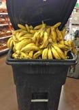 Weggeworfene alte Bananen im Abfalleimer am Lebensmittelgeschäft Stor Stockfotografie