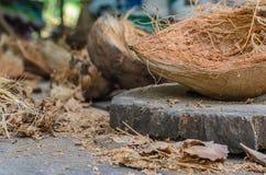 Weggeworfene Kokosnusshülse oder -Kokosschale Stockfoto