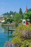 Weggis,湖卢赛恩,瑞士 免版税库存图片