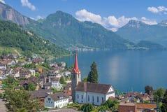Weggis, Jeziorna lucerna, lucerna kanton, Szwajcaria zdjęcie stock