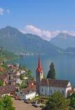 Weggis,Lake Lucerne,Vierwaldstaettersee. The Village of Weggis on lake lucerne,switzerland Royalty Free Stock Images