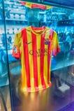 Weghemd des FC Barcelona, Camp Nou -Museum, Barcelona, Katalonien, lizenzfreie stockfotografie