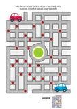 Weglabyrint met rode en blauwe auto's royalty-vrije illustratie