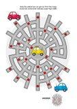 Weglabyrint met taxiauto royalty-vrije illustratie