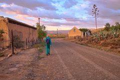 Wegmanier in Karoo royalty-vrije stock foto