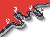 Wegreis en het infographic malplaatje van de Reisroute met speldwijzer Vector Illustratie