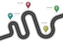 Wegreis en het infographic malplaatje van de Reisroute met speldwijzer Stock Afbeeldingen