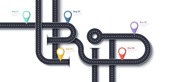 Wegreis en Reisroute Het bedrijfs en Reisontwerpmalplaatje van Infographic met speld-Wijzers en plaats voor uw gegevens Stock Foto's