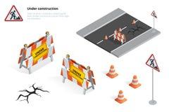 Wegreparatie, in aanbouw verkeersteken, Reparaties, onderhoud en bouw stock illustratie