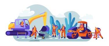 Wegreparatie met Bouwmachines en Werkende Mensen Graafwerktuig en Rolling Zware voertuigen die Asphalt Maintenance maken stock illustratie