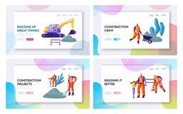 Wegreparatie met Graafwerktuig, Rolling Zwaar voertuig en Werkende Geplaatst het Landingspaginamalplaatjes van de Mensenwebsite,  vector illustratie