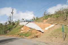 Wegschade van Orkaan Maria, Sep 2017 stock afbeeldingen