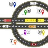 Wegverbinding die op een euro teken lijken De weg voor de navigator Humoristisch beeld Illustratie stock illustratie
