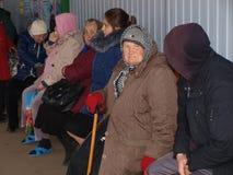 Wegversperring 'Stanytsia Luhanska ' stock fotografie