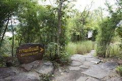 Wegweise gehen, die Kunst auf Klippen über dem Mekong zu schaukeln geschätzt, um 3.000 Jahre an Nationalpark Pha Taem in Ubon Rat Stockbild