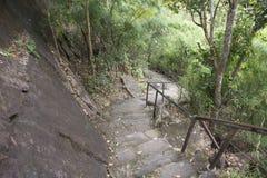 Wegweise gehen, die Kunst auf Klippen über dem Mekong zu schaukeln geschätzt, um 3.000 Jahre an Nationalpark Pha Taem in Ubon Rat Lizenzfreie Stockfotos