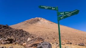 Wegweiser auf Berg Teide, Teneriffa, Kanarische Inseln, Spanien lizenzfreies stockfoto