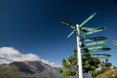 Wegweiser bei Bobs Peak Stockfoto