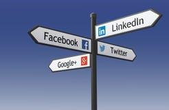 Wegweiser des Sozialen Netzes Stockfotografie