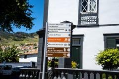 Wegweiser in Machico auf der Insel von Madeira Portugal Lizenzfreie Stockfotos