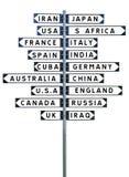 Wegweiser mit einer großen Gruppe Reisezielen lizenzfreie stockbilder