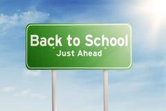 Wegweiserführer zurück zu zur Schule Stockfoto