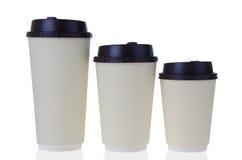 Wegwerfbare Kaffeetassen Stockfotos