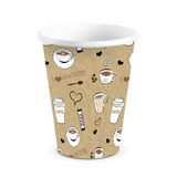 Wegwerfgekritzel-Drucksache-Kaffeetasse-Vektor-Illustration Lizenzfreie Stockfotos