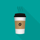 Wegwerfkaffeetasseikone mit Bohnenlogo Stockfotografie