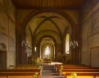 Wehrkirche von St. Arbogast im Dorf Muttenz Stockbild