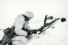 Wehrmacht machine-gunner. Black and white photo. NELIDOVO, MOSCOW REGION, RUSSIA - JANUARY 22, 2017: Reenactment of the winter defensive battles of the Red Army Stock Photos