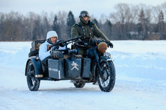 Wehrmacht motorcyclists. Stock Photos