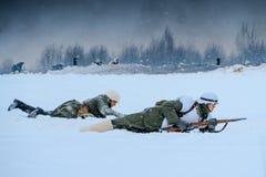 Wehrmachtmilitairen in aanval Royalty-vrije Stock Foto