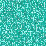 Weiß auf grünem Alphabet beschriftet nahtloses Muster Stockbild