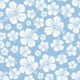 Weiß auf hellblauem gelegentlichem Hibiscus blüht nahtlosen Wiederholungsmusterhintergrund stockbilder