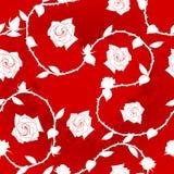Weiß-auf-Rotes nahtloses rosafarbenes Sarimuster Lizenzfreie Stockfotografie