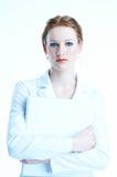 weiß-gekleidete Geschäftsfrau Lizenzfreies Stockfoto