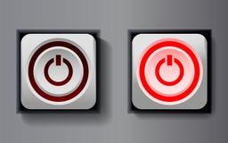 Weiß gerundete quadratische Ikone mit An-/Aus-Schalter Stockbilder