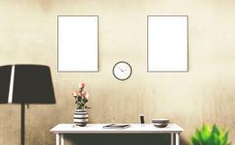 Weiß lokalisierter Poster mit leerem Rahmenmodell Lizenzfreies Stockfoto
