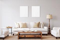 Weiß lokalisierter Poster mit leerem Rahmenmodell Stockbilder
