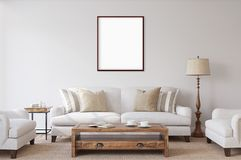 Weiß lokalisierter Poster mit leerem Rahmenmodell Stockfotos