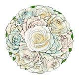 Weiß-Rosenblumenstrauß des Vektors Hand gezeichneter lokalisiert Lizenzfreies Stockbild