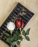 Weiß-, Rotrose lokalisiert und Abakus auf Bretterboden Lizenzfreie Stockfotografie