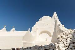 Weiß-Ruinen in Mykonos Stockfotografie